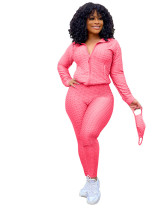 Rose Red Zipper sweater two-piece yoga pants sports suit + mask
