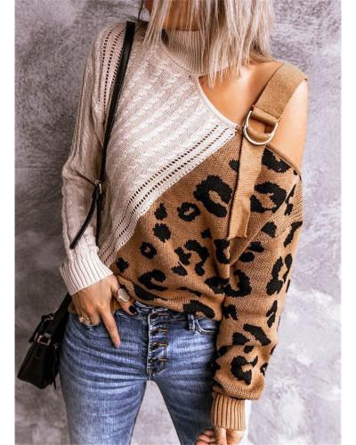 Apricot color block leopard print high neck off-shoulder sweater