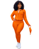 Orange Zipper sweater two-piece yoga pants sports suit + mask