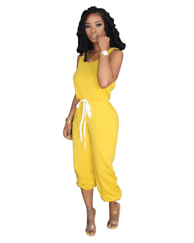 Yellow Hot sale solid color jumpsuit