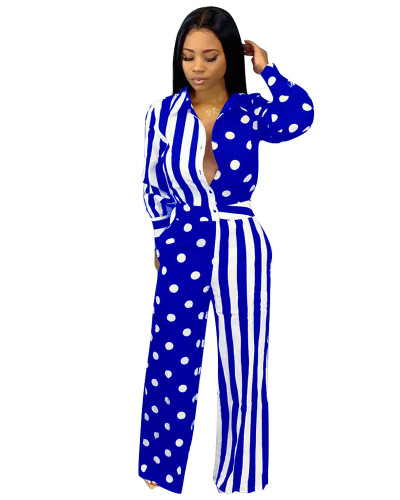Blue Printed casual jumpsuit