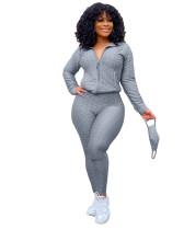Gray Zipper sweater two-piece yoga pants sports suit + mask