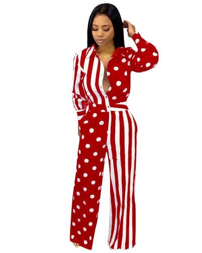 Red Printed casual jumpsuit
