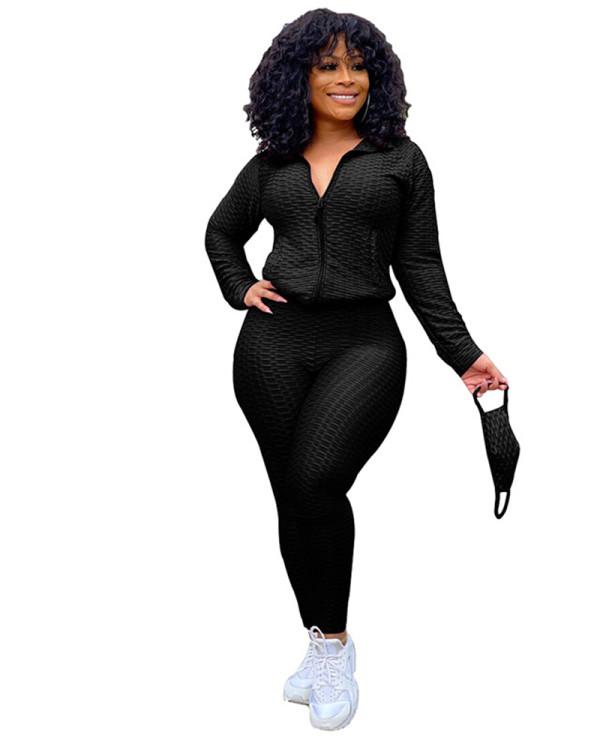 Black Zipper sweater two-piece yoga pants sports suit + mask