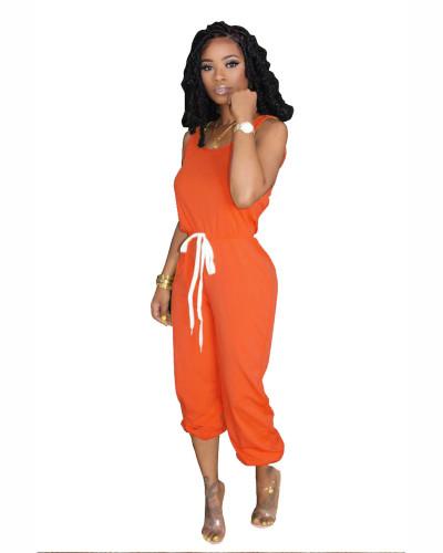 Orange Hot sale solid color jumpsuit