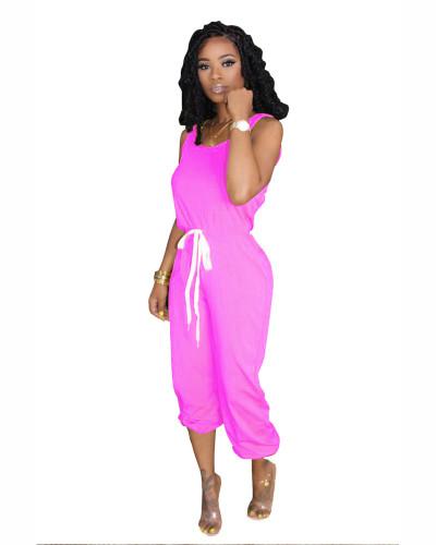 Pink Hot sale solid color jumpsuit