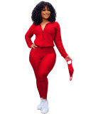 Red Zipper sweater two-piece yoga pants sports suit + mask