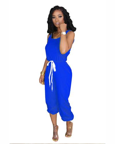 Blue Hot sale solid color jumpsuit