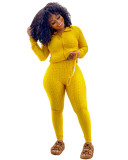 Yellow Zipper sweater two-piece yoga pants sports suit + mask