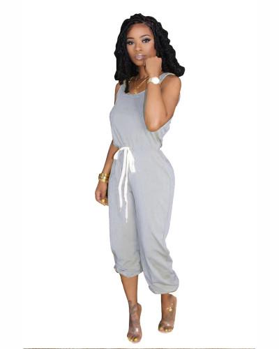 Gray Hot sale solid color jumpsuit