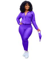 Purple Zipper sweater two-piece yoga pants sports suit + mask