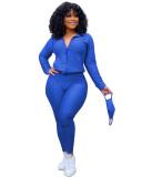 Blue Zipper sweater two-piece yoga pants sports suit + mask