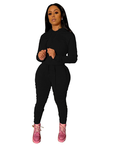 Black Sports and leisure pure color pleated two-piece suit