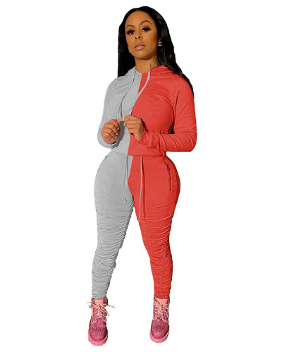 Gray Red Sports and leisure hit color fold two-piece suit