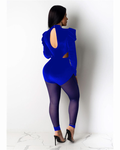 Blue Fashion sexy mesh perspective Jumpsuit