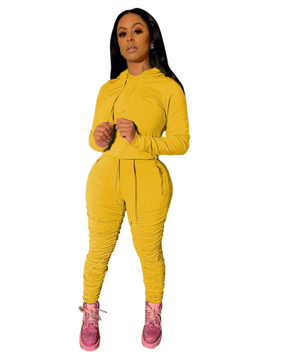 Yellow Sports and leisure pure color pleated two-piece suit
