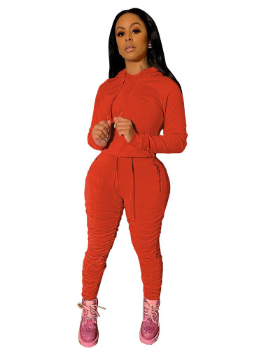 Orange Sports and leisure pure color pleated two-piece suit