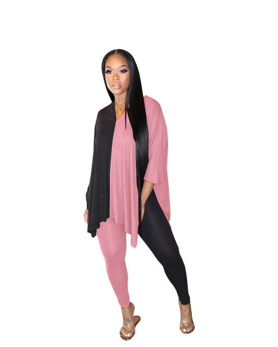 Pink+Black Fashion casual color matching slit V-neck two piece set