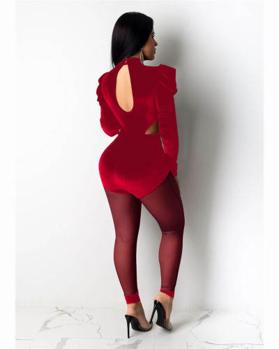 Red Fashion sexy mesh perspective Jumpsuit