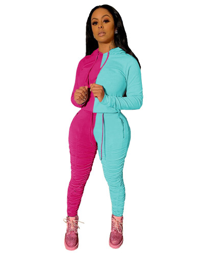 Rose Red Blue Sports and leisure hit color fold two-piece suit