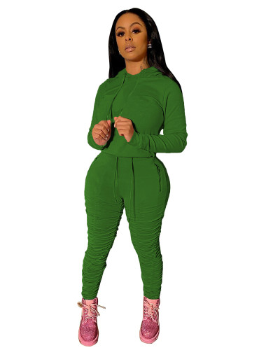 Green Sports and leisure pure color pleated two-piece suit