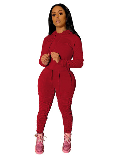 Red Sports and leisure pure color pleated two-piece suit