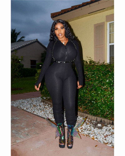 Black Fashionable casual long sleeve Jumpsuit with plain pleat and pit stripe