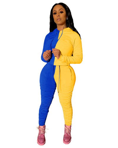 Blue Yellow Sports and leisure hit color fold two-piece suit