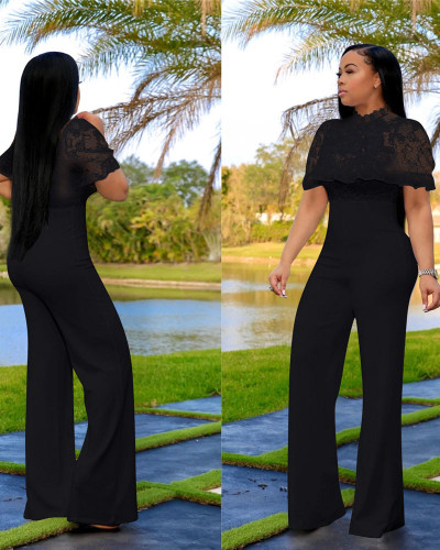 Black Fashion casual Lace Sexy High Waist solid color Jumpsuit