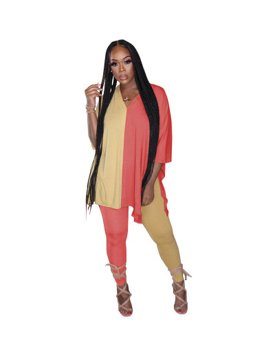 Yellow+Red Fashion casual color matching slit V-neck two piece set