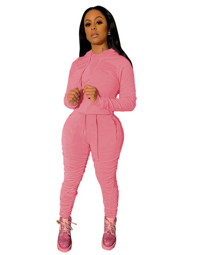 Pink Sports and leisure pure color pleated two-piece suit
