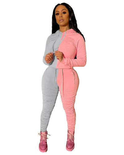 Gray Pink Sports and leisure hit color fold two-piece suit