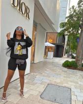 Black Fashion leisure long sleeve offset set