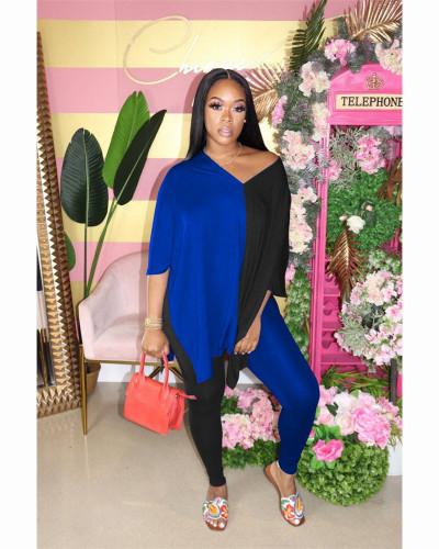 Blue+Black Fashion casual color matching slit V-neck two piece set