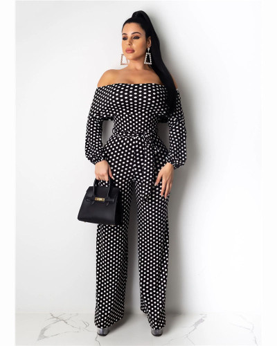 Black Fashionable and casual wave point one shoulder wide leg Jumpsuit
