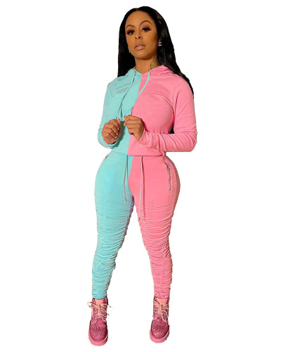 Blue Pink Sports and leisure hit color fold two-piece suit