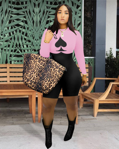 Pink Fashion casual spade long sleeve Jumpsuit