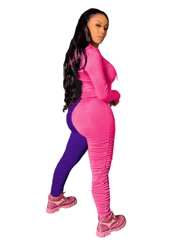 Pink Purple Sports and leisure hit color fold two-piece suit