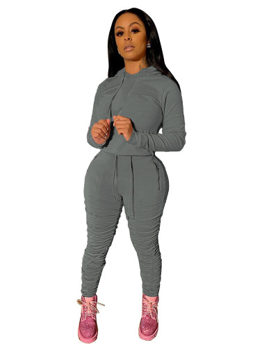 Gray Sports and leisure pure color pleated two-piece suit