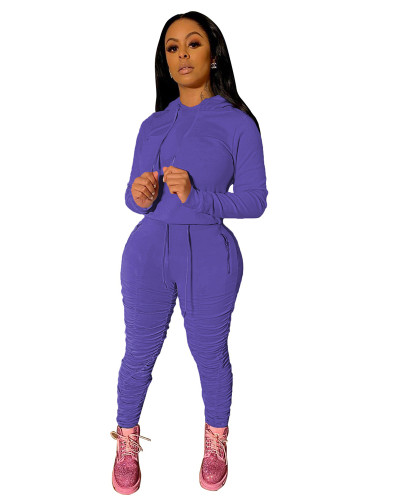 Purple Sports and leisure pure color pleated two-piece suit