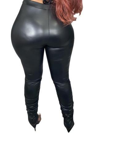 Black Sexy casual PU leather pants