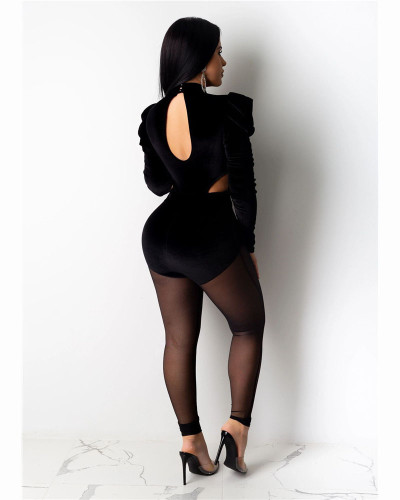 Black Fashion sexy mesh perspective Jumpsuit