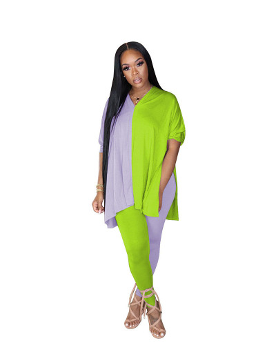Green+Gray Fashion casual color matching slit V-neck two piece set
