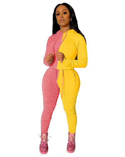 Yellow Pink Sports and leisure hit color fold two-piece suit