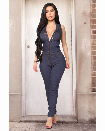 Dark Blue Fashionable casual sexy button jeans Jumpsuit