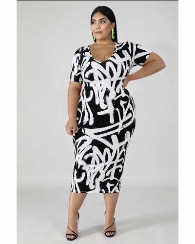 Printed bag hip one step skirt plus size dress