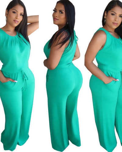 Light Green Fashion casual solid color loose Jumpsuit