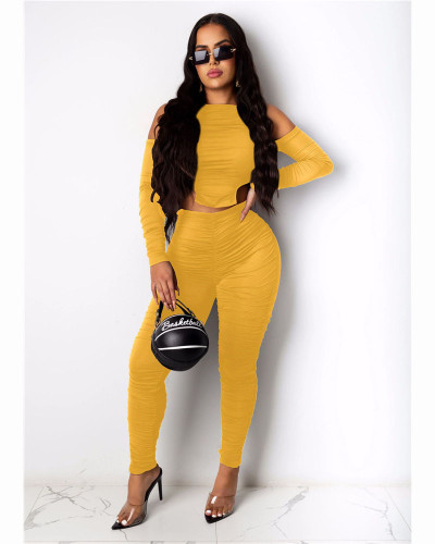 Yellow Fashion casual pleated solid color front and back Jumpsuit
