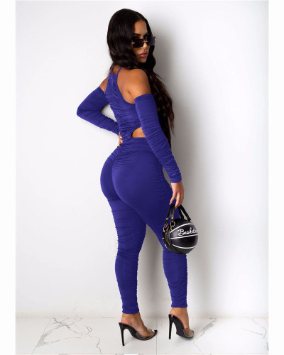 Blue Fashion casual pleated solid color front and back Jumpsuit