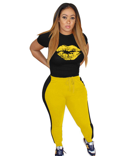 Yellow Fashion casual sports lips autumn winter suit
